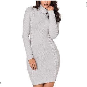 Dresses & Skirts - New Grey fitted turtleneck sweater dress